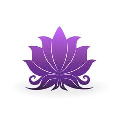 purple lotus plant zen meditation icon vector image
