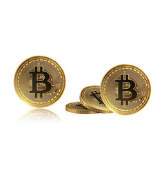realistic bitcoin currency golden bitcoins stack vector image