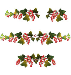 Red currant branches set vector