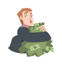 Rich greedy businessman hugging big pile money vector