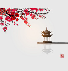 sakura blossom and pagoda temlple over water vector image