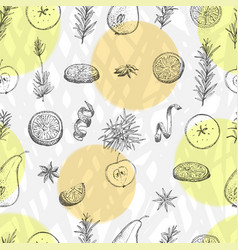 Seamless pattern with hand drawn christmas winter vector