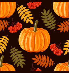 seamless pattern with leaves pumpkins and rowan vector image