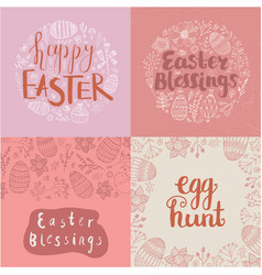 Set easter square cards banners hand vector
