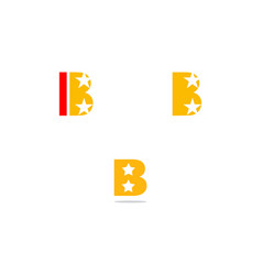 Set of letter b with star light symbol logo vector