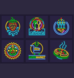 set of neon sign icons vector image