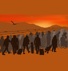 Silhouettes of refugees people behind barbed wire vector