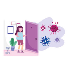 Stay at home young woman in room house quarantine vector