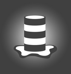 striped barrel in black and white stripes with a vector image