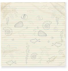 Summer star fish and shell doodles vector