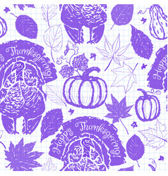 thanksgiving seamless pattern with turkeys vector image
