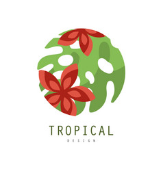 Tropical logo design round geometric badge with vector