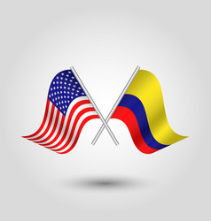 Two crossed american and colombian flags vector