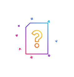 unknown document line icon file with question vector image