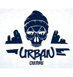 Urban culture style skull in sunglasses logo or vector