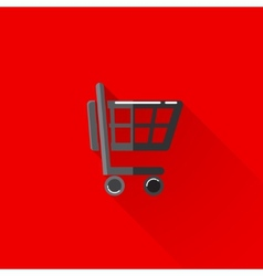 Vintage of a shopping cart in flat style with long vector