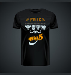 vintage t-shirt with stylish african big five in vector image