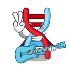 With guitar dna molecule mascot cartoon vector