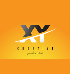 Xy x y letter modern logo design with yellow vector