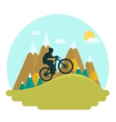 Female mountain bike rider vector image vector image