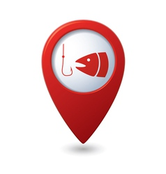 Fishing icon red map pointer vector