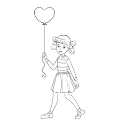 Girl with balloon of shape of heart in hand vector image vector image