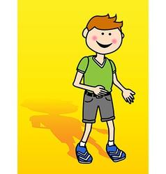 Little boy over yellow vector image vector image