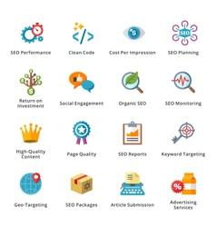 SEO and Internet Marketing Flat Icons - Set 4 vector image