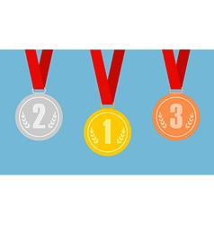 Set of gold bronze and silver medals on red vector image