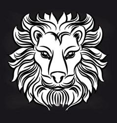 white lion head on blackboard vector image vector image