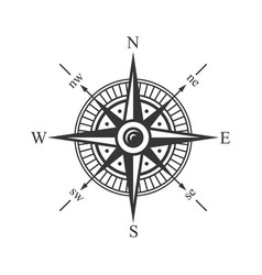 wind rose compass on white background vector image