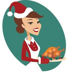 Woman holding Christmas turkey vector image vector image