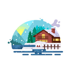 Wooden house on lake shore vector