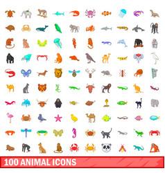 100 animal icons set cartoon style vector image