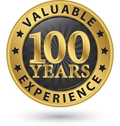 100 years valuable experience gold label vector image vector image