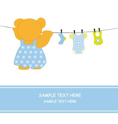 bear hanging clothes blue vector image