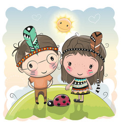 cute cartoon tribal girl and boy with feather vector image