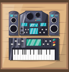 electric keyboard with amplifier speaker and vector image vector image