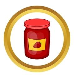 Jar of strawberry jam icon vector image
