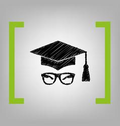 mortar board or graduation cap with glass vector image
