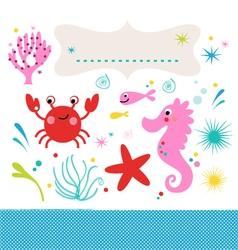 Sea creatures underwater scene isolated on white vector image