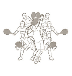 tennis players men action outline vector image