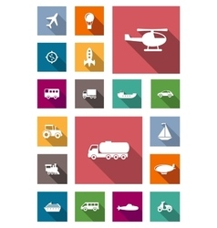 Transportation flat icons with shadows vector image