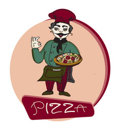chef pizza banner logo vector image