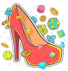 colorful of red womens shoes on white backg vector image vector image
