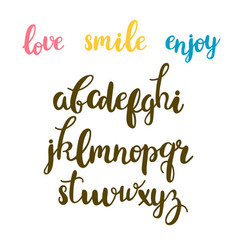 hand drawn calligraphic font cute letters vector image
