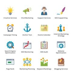 SEO and Internet Marketing Flat Icons - Set 5 vector image vector image