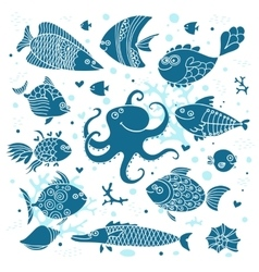 Set imprint cute fish and octopus for the design vector image vector image