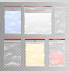 full and empty transparent plastic bag set vector image vector image