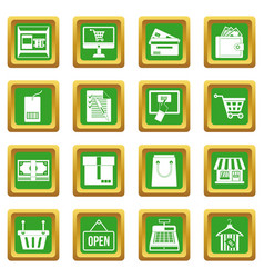 Shopping icons set green vector